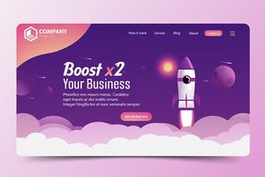 Steigern Sie die Zielseite der Business Rocket-Website vektor