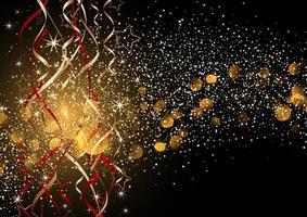 Dekorativ julbakgrund med glitter och banderoller vektor