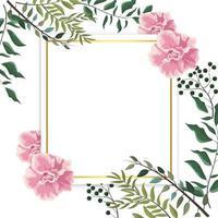 Karte mit exotischen Rosenpflanzen und -blättern