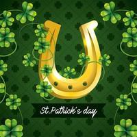 St Patrick-firande med klöver och guldhästsko vektor
