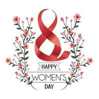Band acht mit Blumen und Blättern zum Tag der Frauen vektor