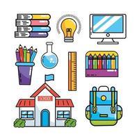 ställa in skolutbildningsmaterial för att studera vektor