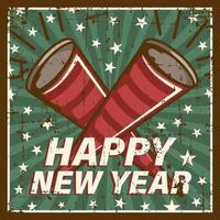Guten Rutsch ins Neue Jahr-Weinlese-Signage-Plakat rustikal