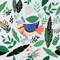 söt doodle fågel sömlösa mönster vektor