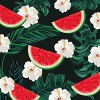 Tropische Wassermelone mit Blumen- und Blatthintergrund vektor
