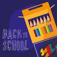 Tillbaka till skolaskrin med färgpennor vektor