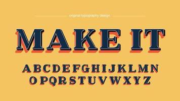 Fet 3D Serif Vintage Artistic Font vektor