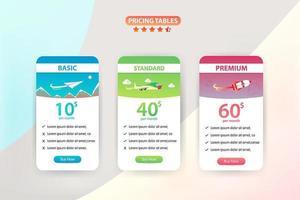 Preistabelle Set mit 3 verschiedenen Ebenen