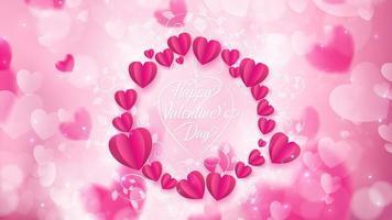 Pappershjärtor och doodle vinstockar över bokeh hjärtan