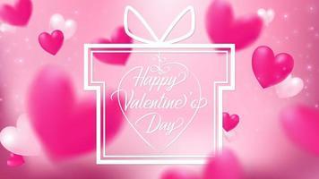 Herzen, die auf rosa Hintergrund mit weißem Geschenkrahmen schwimmen vektor