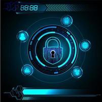 Blaues zukünftiges Technologiekonzept der HUD-Cyber-Schaltung