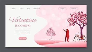 Valentinstag Landing Page mit Landschaft und paar