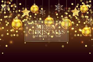 Julbakgrund med guld- bollar och snöflingor