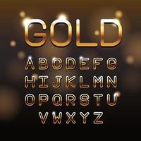 Guld VIP bokstäver alfabetet vektor