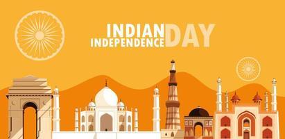 indisk självständighetsdag affisch med grupp av byggnader