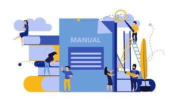 Mann und Frau erstellen Dokument Buch manuelles Design