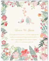 Frühlingsblumen- und -vogelhochzeitskarte vektor