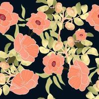 Nahtloses Muster der botanischen Rosa- und Grünblätter