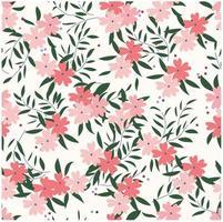Rosa vild blomma- och bladmodell botanisk tropisk vektor