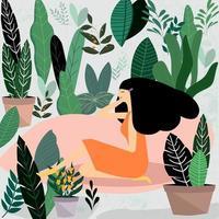 Kvinna som sitter i trädgården vektor