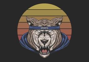 Wolf trägt Retro- Vektorillustration des Sonnenuntergangs zur Schau