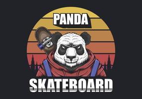 Retro- Vektor des Pandaskateboard-Sonnenuntergangs