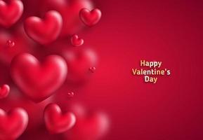 Många hjärtan på rött