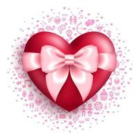 Glansigt rött hjärta med rosa rosett med kärlekssymboler