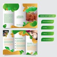 6 sidor med tre broschyrer med flytande stil