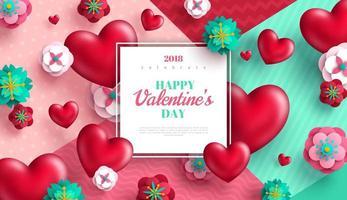 Bakgrund för valentindag med hjärtor och papperssnittblommor vektor