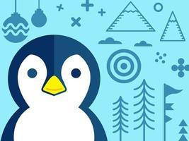 Pingvin med andra element av jul i röd ton - design för gratulationskort och mångfald