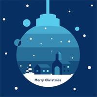 Haus, Baum und Kirche in der Weihnachtsverzierung mit blauem Ton im Weihnachtskonzept vektor