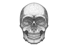 Schädel Kopf Dot Work Design vektor