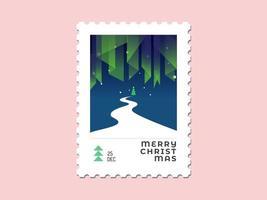 Auroraleuchte mit Weihnachtsbaum und Straße - flaches Design des Weihnachtsstempels vektor