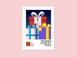 Geschenke - Weihnachtsstempel flache Bauform vektor