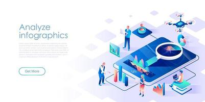 Analysera infographics isometrisk målsidesvektormall