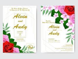 akvarell blommig bröllopsinbjudan vektor
