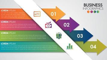 Infografiken entwerfen minimale moderne Vorlage mit 4 Pfeiloptionen