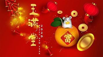 Hintergrund des Chinesischen Neujahrsfests mit der Ratte, die auf Frucht sitzt