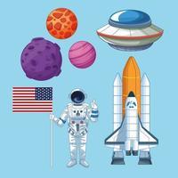Utrymme och astronautuppsättning ikoner