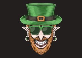 Kobold mit piercing Kopf St Patrick Tagesentwurf vektor