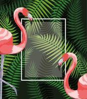 quadratischer Rahmen mit Flamingos und Niederlassungsblättern vektor
