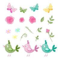Karikatursatz Blumen von Rosen, von Schmetterlingen und von Vögeln vektor
