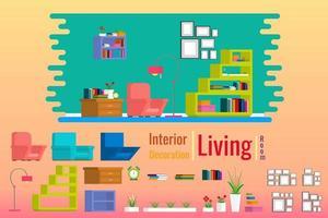 Inre vardagsrum med möbler i hus