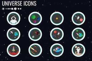 astronaut och planet ikonuppsättning vektor