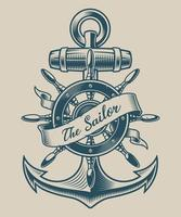 Illustration av ett vintageankare och skeppshjul