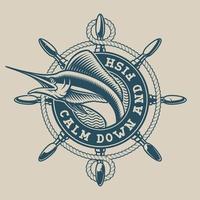 Vintages Seeemblem mit einem Marlin- und Schiffsrad