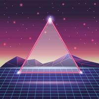 digitale Berglandschaft mit Dreiecksrahmen vektor