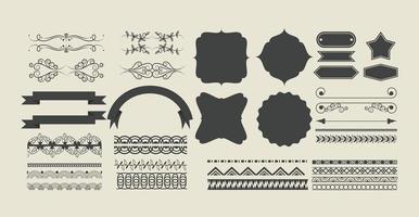 uppsättning dekorativa band, banner, etikett, ramar och emblem vektor