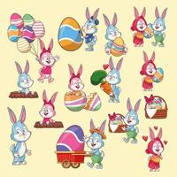 Ostern-Kaninchen- und Ei-Karikatursatz vektor